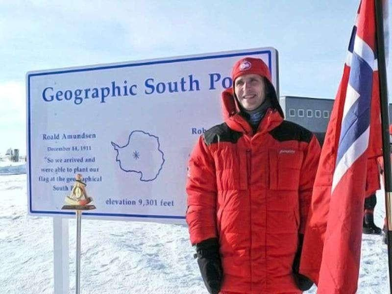 Norwegian Prime Minister Jens Stoltenberg posing at the geographic South Pole. Up to 150 people are expected to be at the Amundsen-Scott South Pole station on December 14, including a diplomatic party of from Norway led by Stoltenberg to celebrate the 100th anniversary of countryman Roald Amundsen's groundbreaking expedition to the frozen continent. AFP