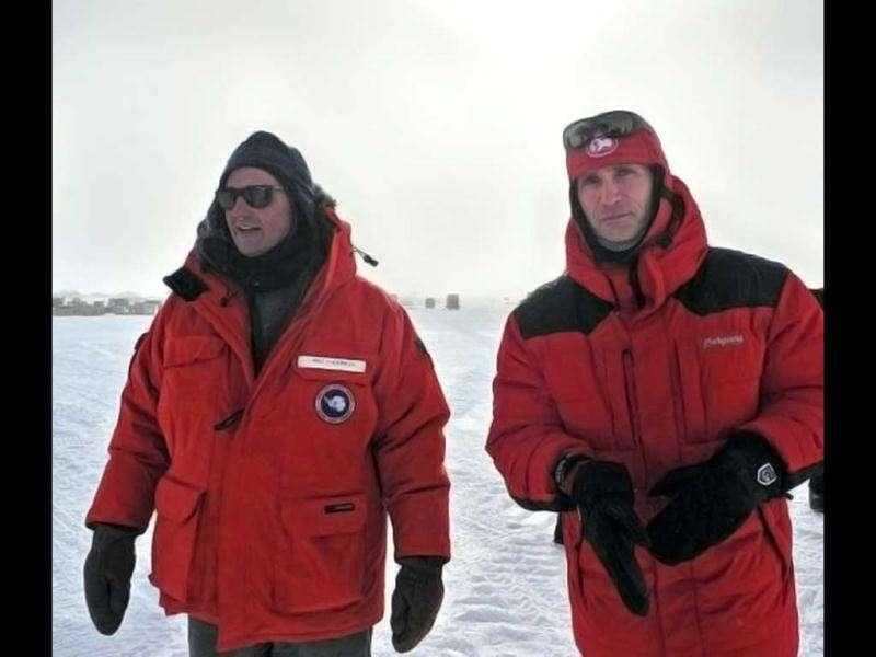 Norwegian Prime Minister Jens Stoltenberg (R) walking with South Pole area director for Raytheon Polar Services, Bill Coughran, near the geographic South Pole2. Up to 150 people are expected to be at the Amundsen-Scott South Pole station on December 14, including a diplomatic party of from Norway led by Stoltenberg to celebrate the 100th anniversary of countryman Roald Amundsen's groundbreaking expedition to the frozen continent. AFP