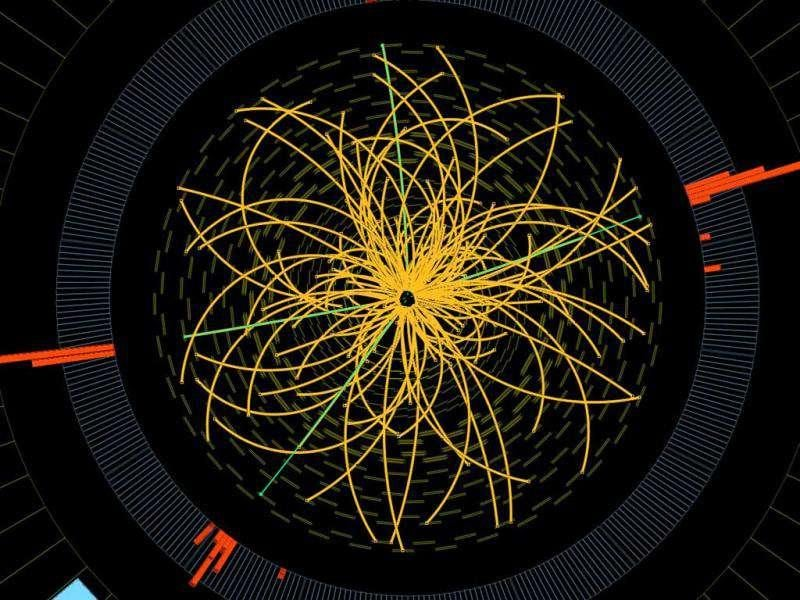 A document provided by the European Organization for Nuclear Research (CERN) in Geneva shows a graphic presenting traces of proton-proton collision measured in the Compact Muon Solenoid (CMS) experience.