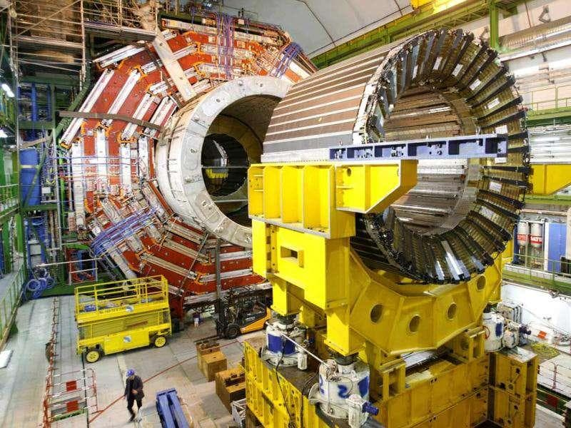 File picture: A technician walks under the core magnet of the CMS (Compact Muon Solenoid) experiment at the European Organization for Nuclear Research (CERN) in the French village of Cessy, near Geneva.