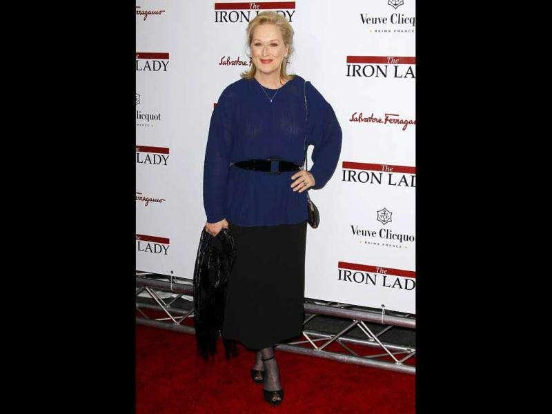 Meryl donned a blue and black outfit for the red carpet at the New York premiere of the film. (Reuters)