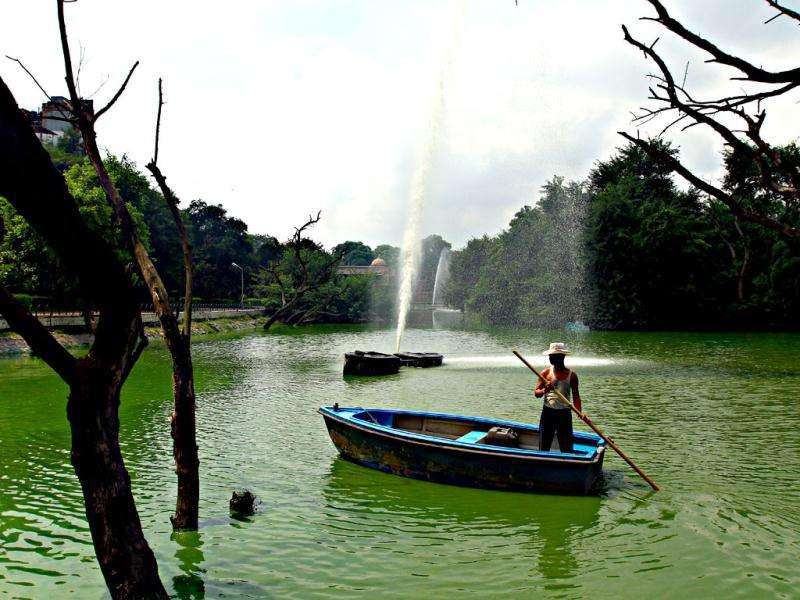 Workers have been cleaning the Hauz Khas lake since 2001, and they do so without any protection. HT Photo by Jasjeet Plaha