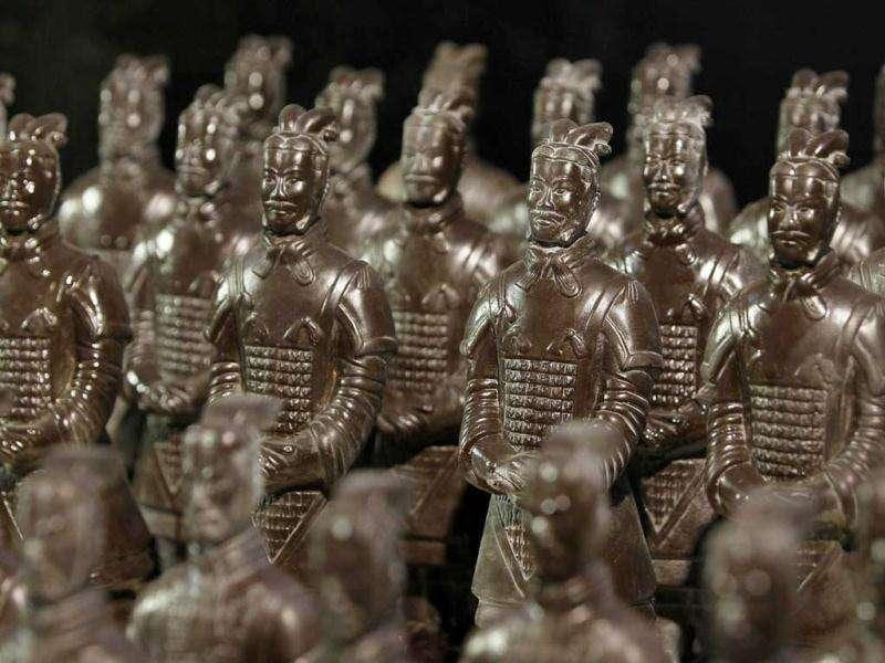 Chocolate-made terracotta warriors are displayed at the World Chocolate Wonderland in Shanghai. (Reuters/Aly Song)