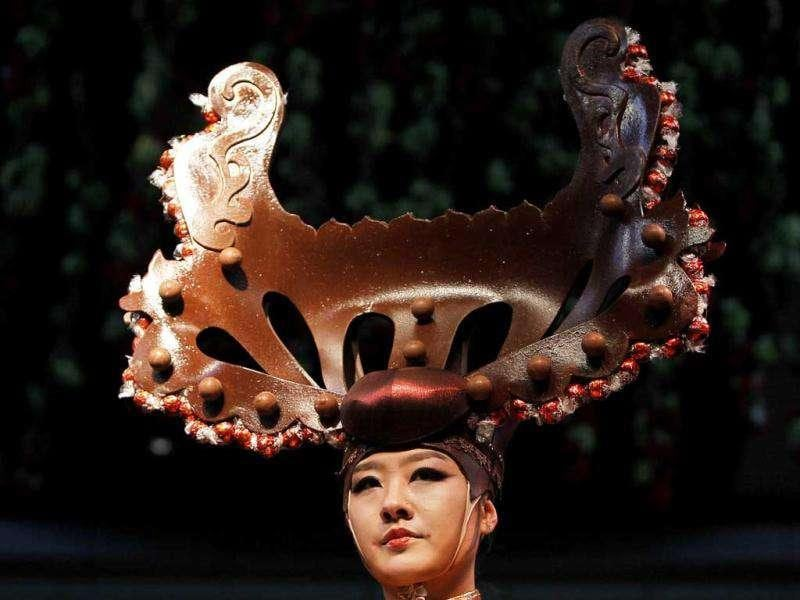 A model presents a creation made of chocolate during a fashion show at the World Chocolate Wonderland in Shanghai. (Reuters/Aly Song)