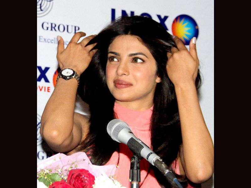Bollywood actor Priyanka Chopra during a promotional event for the upcoming film Don 2 in Jaipur.