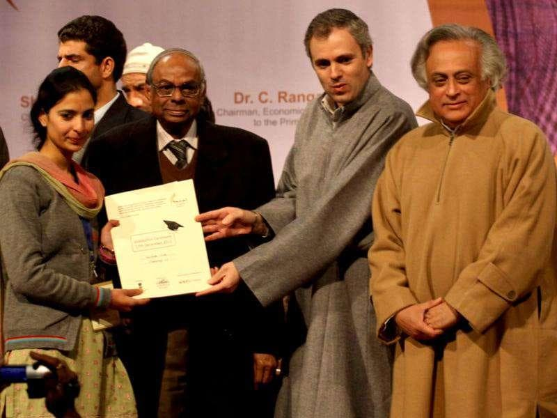 Omar Abdullah distributes appointment letters under Himayat project launched to provide skill development training to the unemployed youth of Jammu and Kashmir during a function held in Srinagar. HT Photo/Waseem Andrab