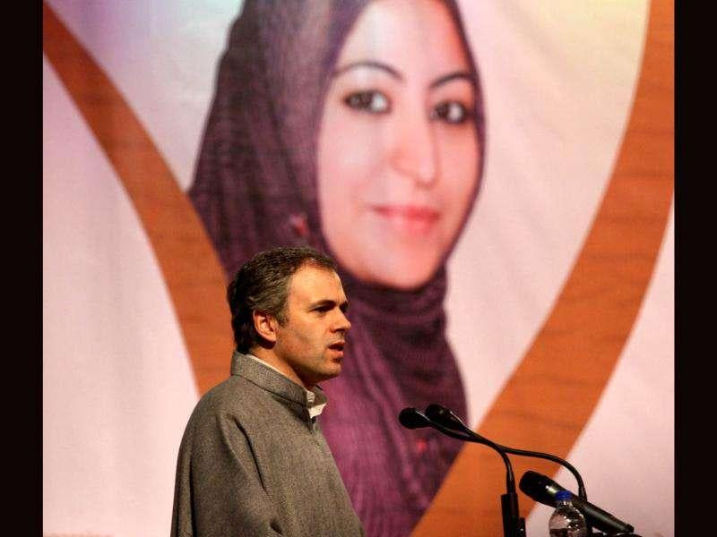 Omar Abdullah delivers speech during a function held in connection with the distribution of appointment letters under Himayat project launched to provide skill development training to the unemployed youth of Jammu and Kashmir in Srinagar. HT Photo/Waseem Andrabi
