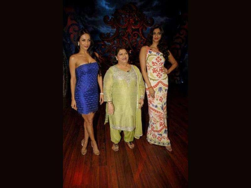 The two ladies with renowned choreographer, Saroj Khan.