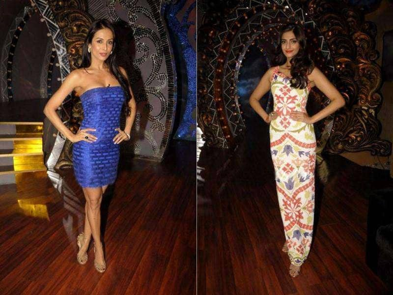 Sonam Kapoor is known as a fashionista in Bollywood, but this time it was Malaika Arora Khan who stole glances on the sets of Nachle Ve. Sonam Kapoor is clad in a long white dress whereas Malaika came in a tiny blue dress. Who do you think looks better? See pics!