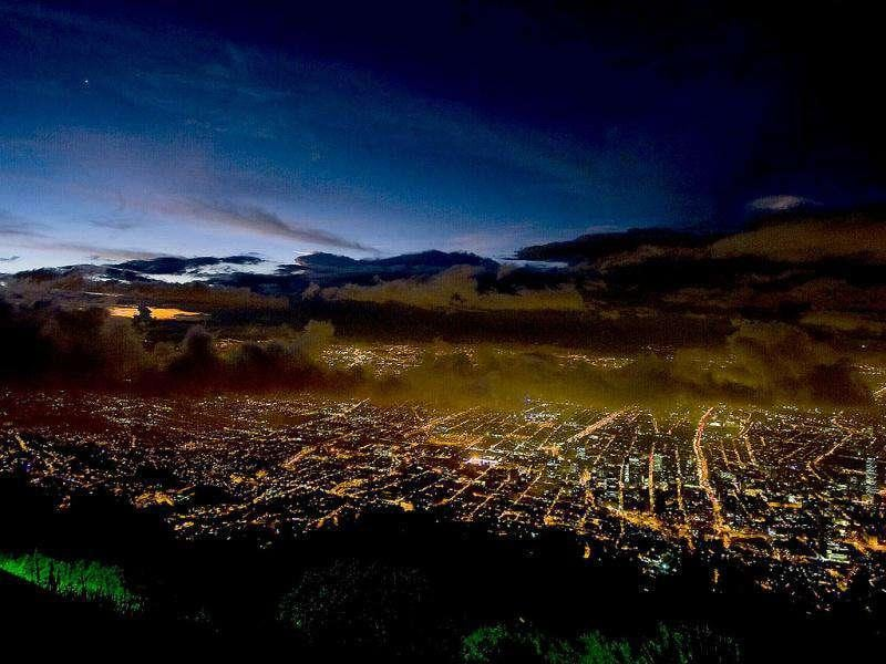 Photo taken from Guadalupe Mountain of Bogota City, during sunset.
