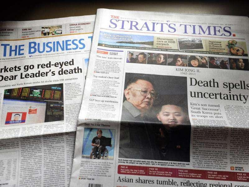 The death of North Korean leader Kim Jong-Il fills the front pages of local newspapers in Singapore a day after the isolated country's state media announced Kim's death.