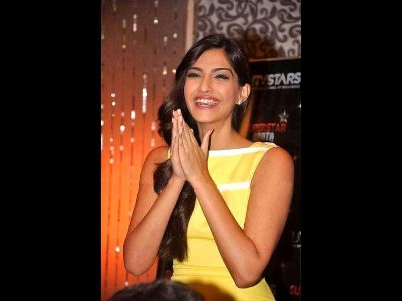 Sonam can't seem to be able to contain her happiness.