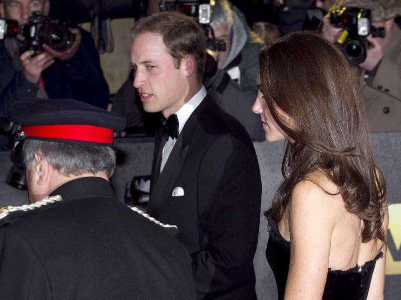 Britain's Prince William with wife Kate during the event.