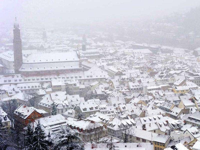 Snow-covered roofs are seen from the Heidelberg Castle in Germany. AP Photo