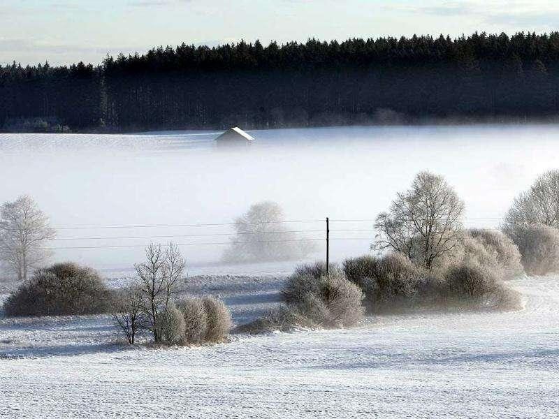 Landscape is covered in snow near Ebenhofen, southern Germany. AFP Photo