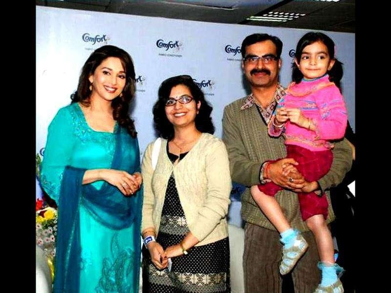 Madhuri Dixit poses with winners.