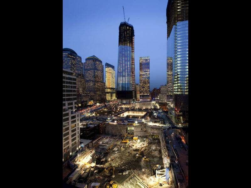 Work continues on 'One WTC', at the World Trade Center, in New York. 'Four WTC' is at right, and the foundations, bottom, are prepared for 'Five WTC'. (AP Photo)