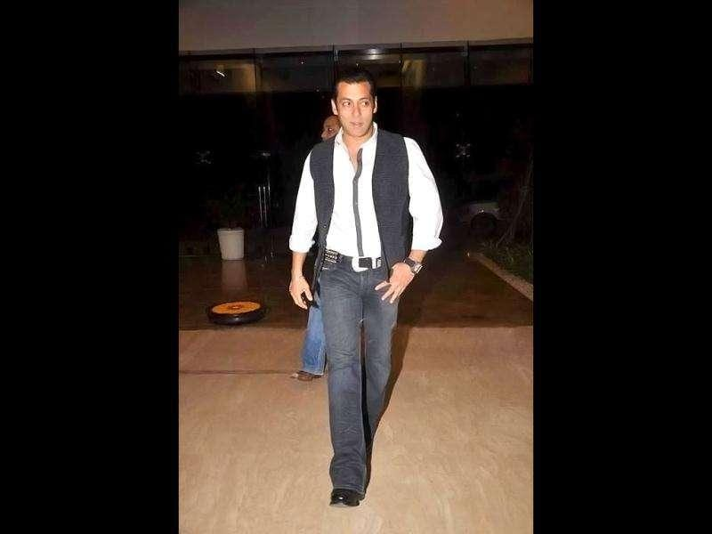 Actor Salman Khan strutted into the party.
