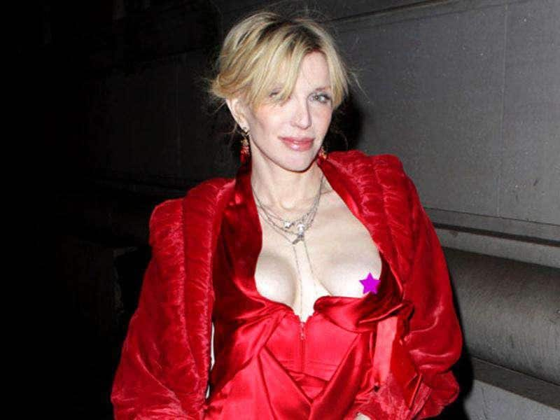 Courtney Love flashed her nipples during a night out in New York.