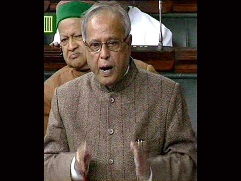 TV grab shows finance minister Pranab Mukherjee speaking in Lok Sabha.
