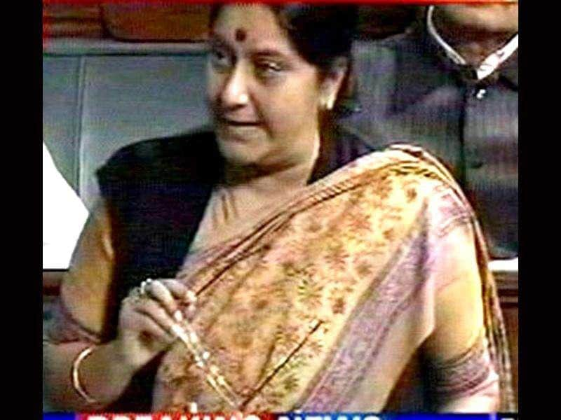 TV grab shows leader of Opposition Sushma Swaraj speaking on the Lokpal Bill in the Lok Sabha in New Delhi.