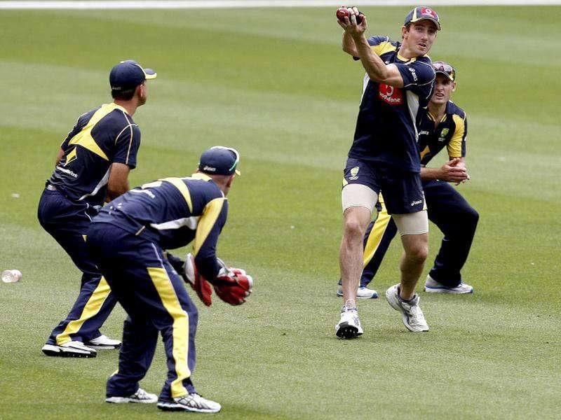 Shaun Marsh of Australia catches the ball during training at the MCG in Melbourne, Australia.