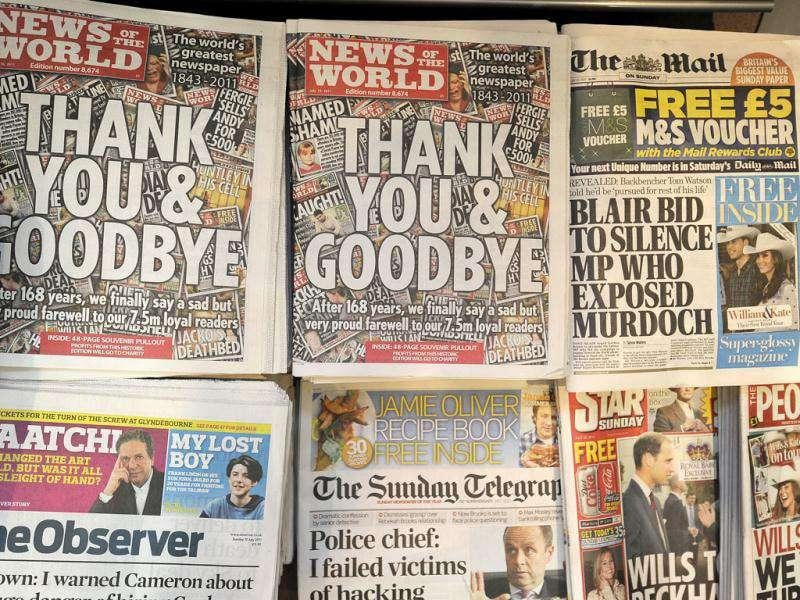The last edition of News of the World newspaper goes on sale alongside other British Sunday newspapers in London. The tabloid was forced to shut down after allegations of phone hacking that led to investigations and questioning of top bosses. Reuters