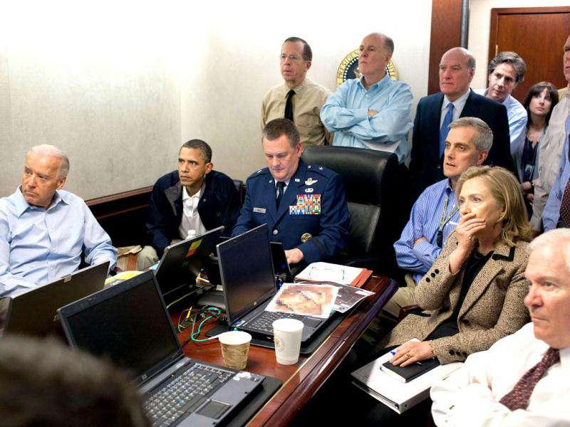 US President Barack Obama and Vice President Joe Biden (L), along with members of the national security team,watch the proceedings of assault against Osama bin Laden in the Situation Room of the White House. Reuters