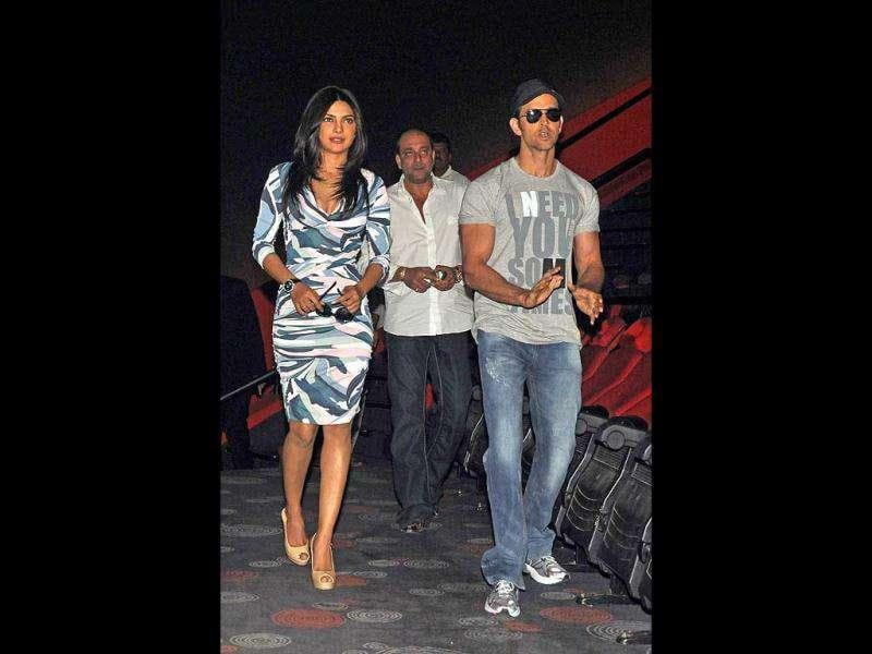Priyanka Chopra, Sanjay Dutt and Hrithik Roshan arrive for the trailer launch. (AFP)