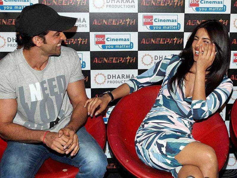 Bollywood actors Hrithik Roshan and Priyanka Chopra during the launch of the trailer of their new film Agneepath in Mumbai. (PTI)