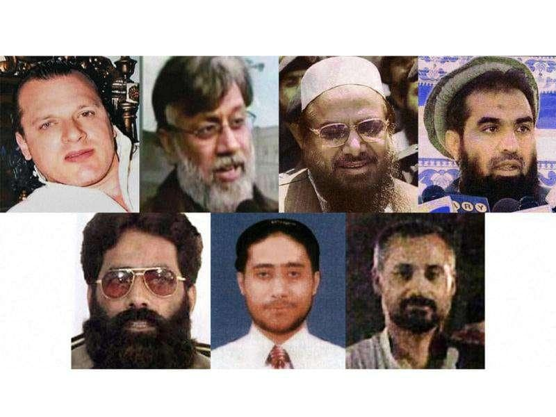 File pictures of seven accused in the 26/11 Mumbai attacks, L-R in the first row, David Headley, Tahawwur Rana, Hafiz Saeed, Zaki-ur-Rehman Lakhvi; and L-R in the second row, Ilyas Kashmiri, Sajjid Majid and Abdur Rehman Pasha, who were chargesheeted by NIA in New Delhi. PTI Photo