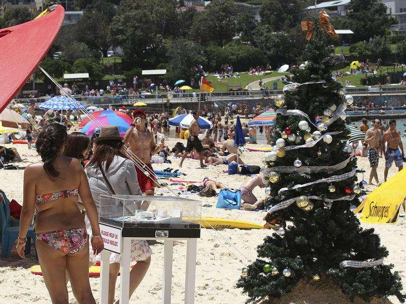 A Christmas tree stands on Bondi Beach in Sydney. AP Photo
