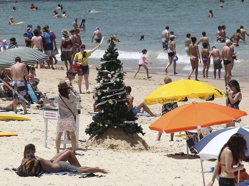 A Christmas tree stands on Bondi Beach in Sydney, Australia. AP Photo