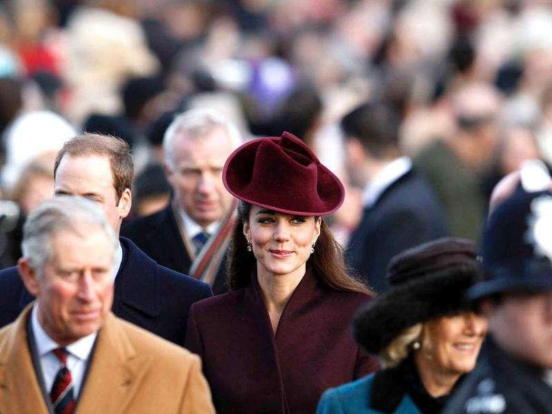 Britain's Catherine, Duchess of Cambridge (C) arrives for a Christmas Day service at St Mary Magdalene Church on the Royal estate at Sandringham, Norfolk in east England. Reuters
