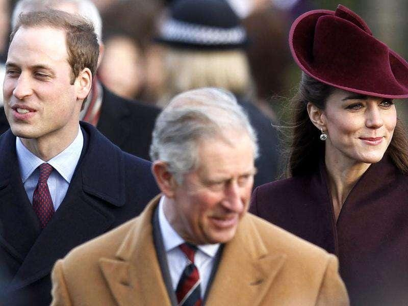 Britain's Prince William, Prince Charles and Catherine, Duchess of Cambridge (L-R) arrive for a Christmas Day service at St Mary Magdalene Church on the Royal estate at Sandringham, Norfolk in east England. Reuters/Suzanne Plunkett.