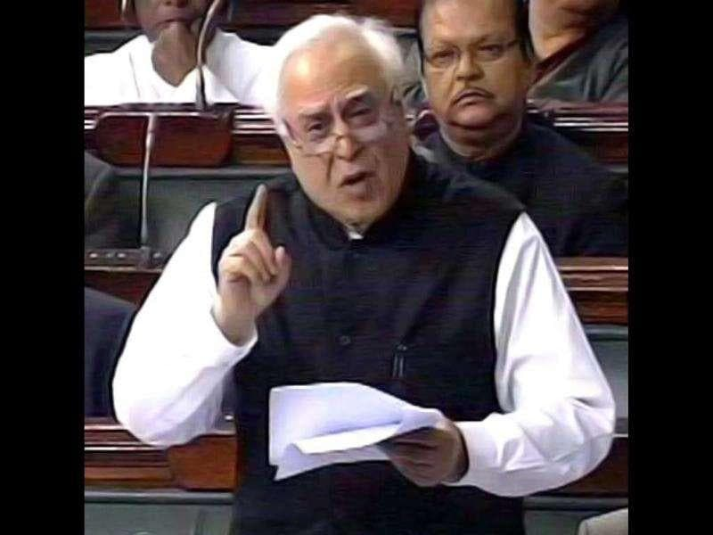 A TV grab shows Union HRD minister Kapil Sibal participating in the Lokpal debate in the Lok Sabha in New Delhi.