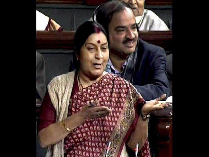 Leader of Opposition in the Lok Sabha Sushma Swaraj speaks in the House in New Delhi. PTI Photo