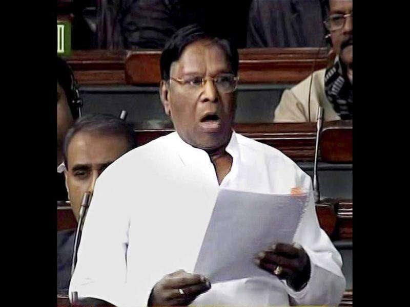 Minister of state for parliamentary affairs V Narayanasamy speaks in the Lok Sabha in New Delhi. PTI Photo