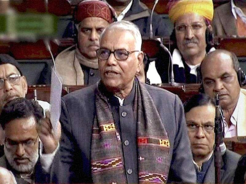 TV grab of BJP leader Yashwant Sinha speaking during the discussion on lokpal bill in Lok Sabha in New Delhi. PTI
