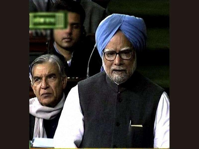 TV grab of Prime Minister Manmohan Singh as he speaks during the discussion on lokpal bill in Lok Sabha in New Delhi. PTI