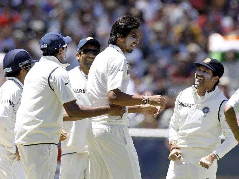 Indian players celebrate after Ishant Sharma bowled out Michael Clarke of Australia during the third day of the first Test match at the Melbourne Cricket Ground in Melbourne, Australia. AP Photo
