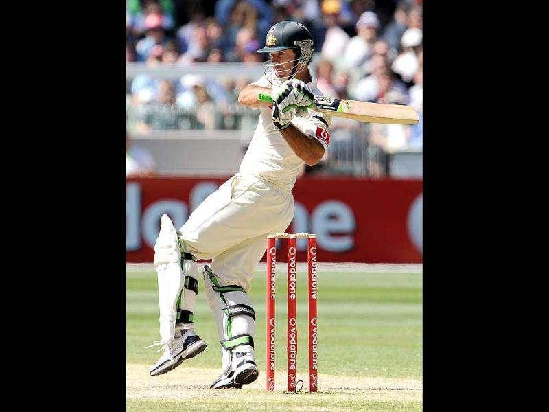 Ricky Ponting pulls a ball away on the third day of the first Test match between Australia and India at the Melbourne Cricket Ground in Melbourne. AFP Photo