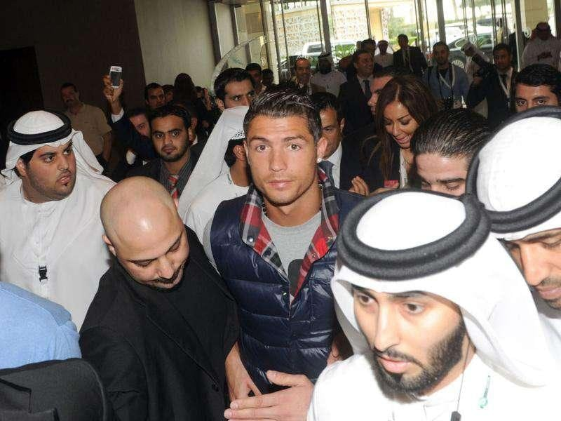 Real Madrid's Cristiano Ronaldo arrives to attends the Sixth International Sports Council Conference in Dubai. (AFP)