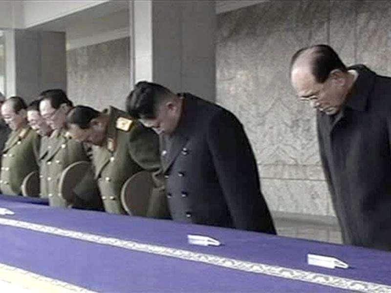 In this image from KRT video, North Korea's next leader Kim Jong Un, 2nd right, and Kim Yong Nam, president of the Presidium of the Supreme People's Assembly and the ceremonial head of state, right, bow as they attend a memorial service for late North Korean leader Kim Jong Il, in Pyongyang, North Korea.