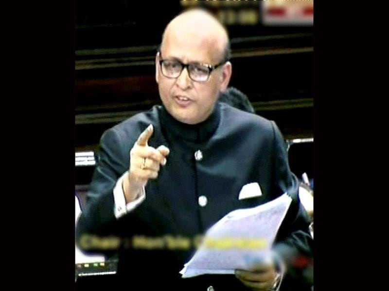 Congress MP Abhishek Manu Singhvi speaks during the debate on Lokpal Bill in the Rajya Sabha in New Delhi. PTI Photo/TV grab