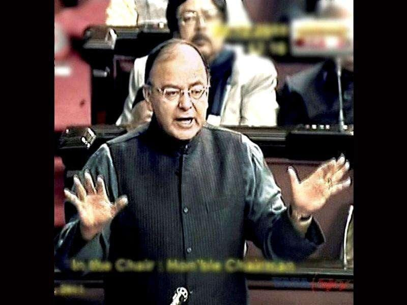 Leader of Opposition in the Rajya Sabha Arun Jaitley speaks during the debate on Lokpal Bill in the House in New Delhi. PTI Photo/TV grab