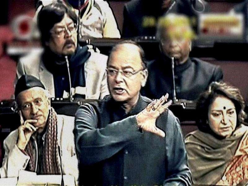 Leader of Opposition in the Rajya Sabha Arun Jaitley speaks during the debate on Lokpal Bill in New Delhi. PTI Photo/TV grab