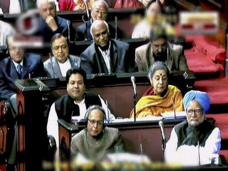 Prime Minister Manmohan Singh, finance minister Pranab Mukherjee and other MPs during the debate on Lokpal Bill in the Rajya Sabha in New Delhi. PTI Photo/TV grab