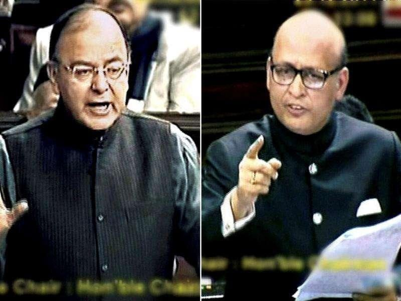 Abhishek Manu Singhvi and Arun Jaitley debate the Lokpal Bill in Rajya Sabha.