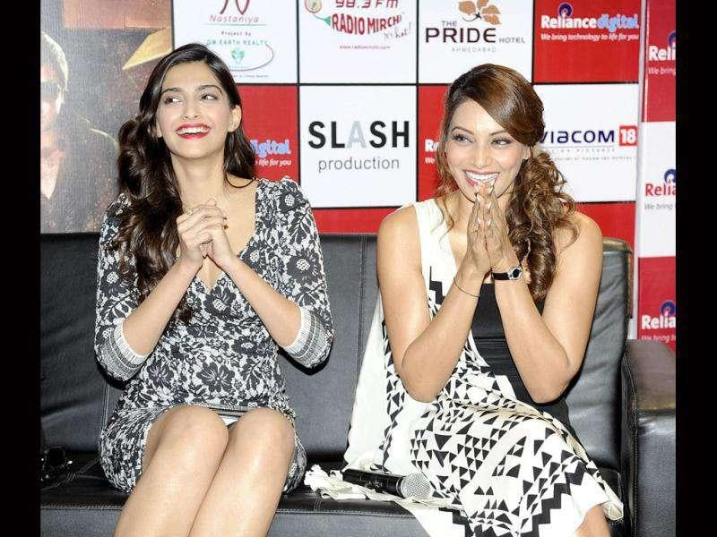 All smiles: Sonam Kapoor and Bipasha Basu.